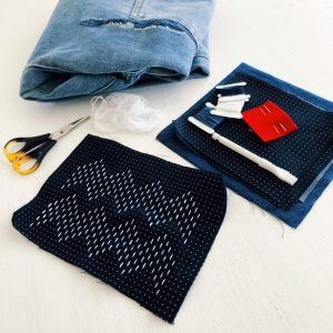Japanese Grid Fabric Visible Mending Kit