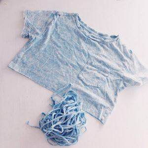 T-shirt cut into strips to use as ribbon; upcycle
